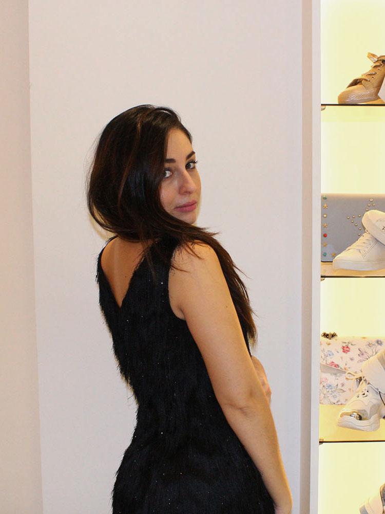 vestido flecos negro tienda de alta costura