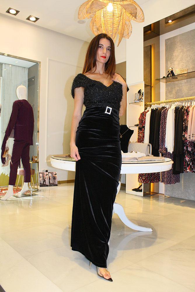 vestido de fiesta largo negro